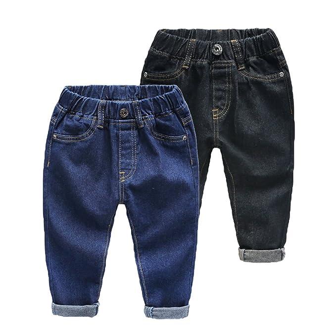 WanYang 2 Piezas (Negro, Azul) Denim Jeans Pantalones ...