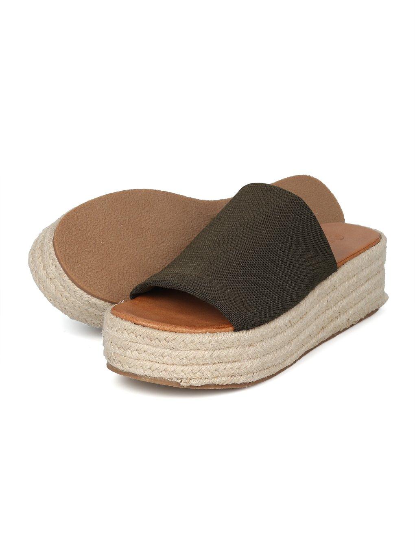 Alrisco Women Metallic Open Toe Espadrille Platform Wedge Slide HI39 B07DVF6KD7 6.5 B(M) US Olive Fabric