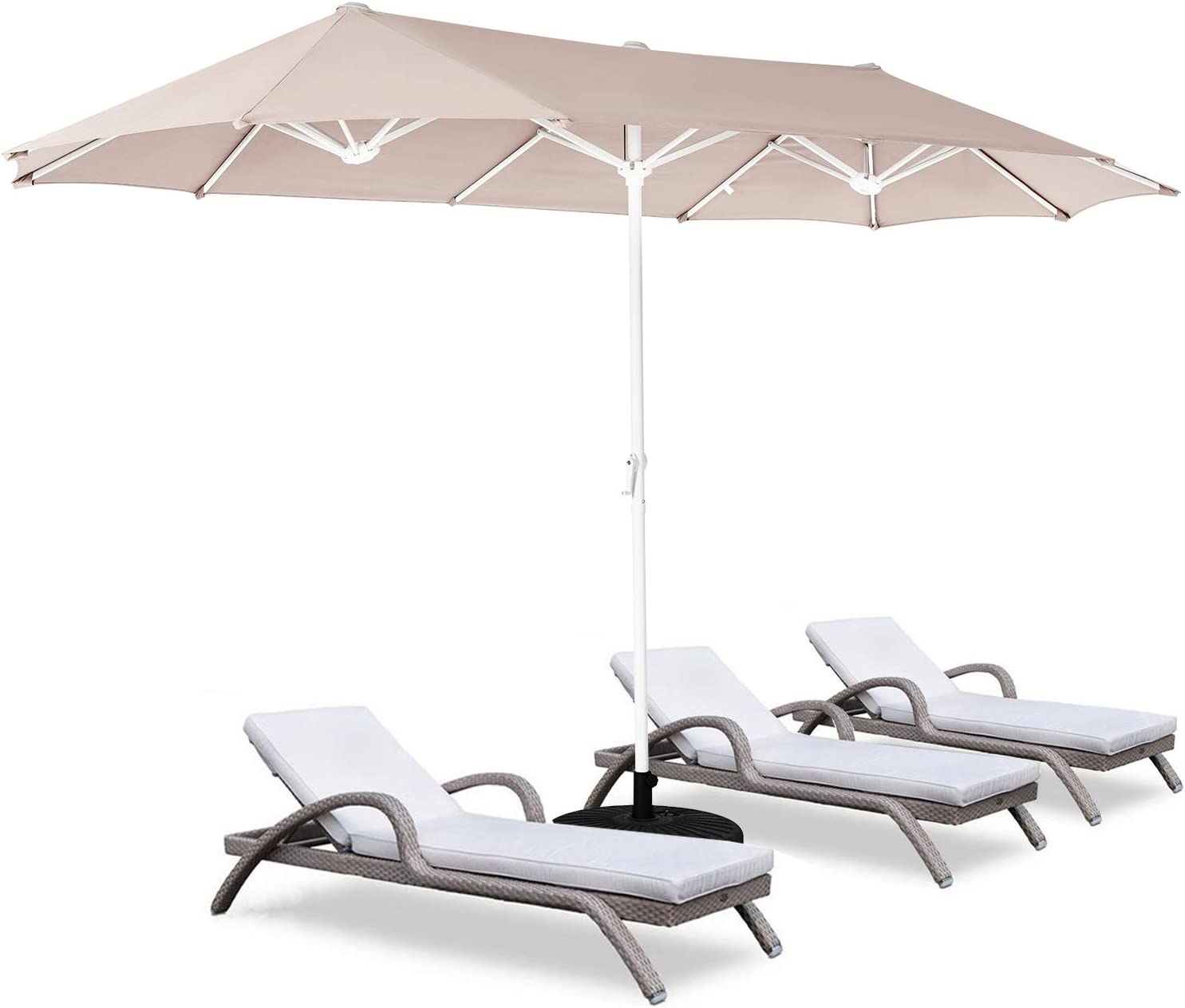 ROWHY 12ft Patio Umbrella Double-Sided Outdoor Market Umbrella Large Umbrella with Crank for Pool, Patio Furniture, Patio Shade(Beige)