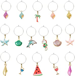 NHEINNO Colorful Beach Themed Wine Glass Charms Drink Markers Outdoor Party Christmas Decor 16PCS/SET