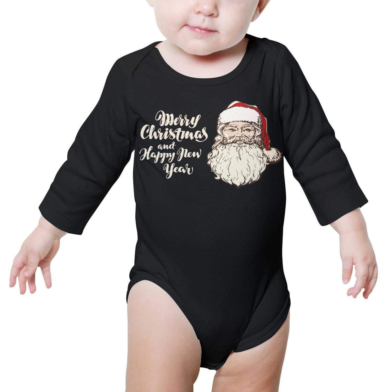 Merry Christmas Santa Long Sleeve Natural Organic Baby Onesie Bodysuit Gift for Newborn Infant