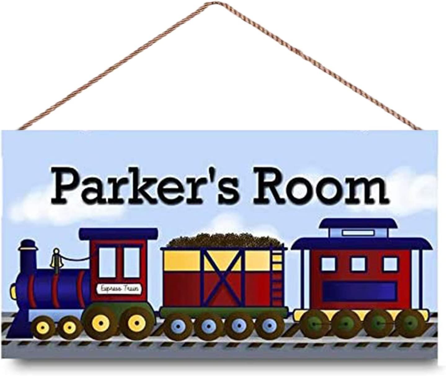 WEIMEILD Personalized Signs for Kids Room All Aboard The Express Train Boys TransportationWall Decor Gift,Kid's Name,Wall Art,Baby Nursery Door Sign