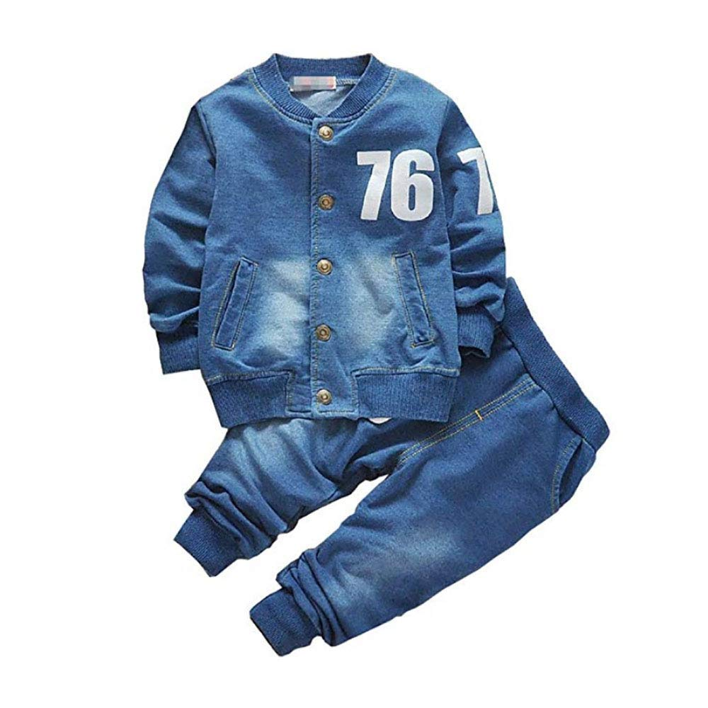 Boy Girls Toddler Denim Coat Jeans 2Pcs Outfit Kids Casual Clothes Suits Sets