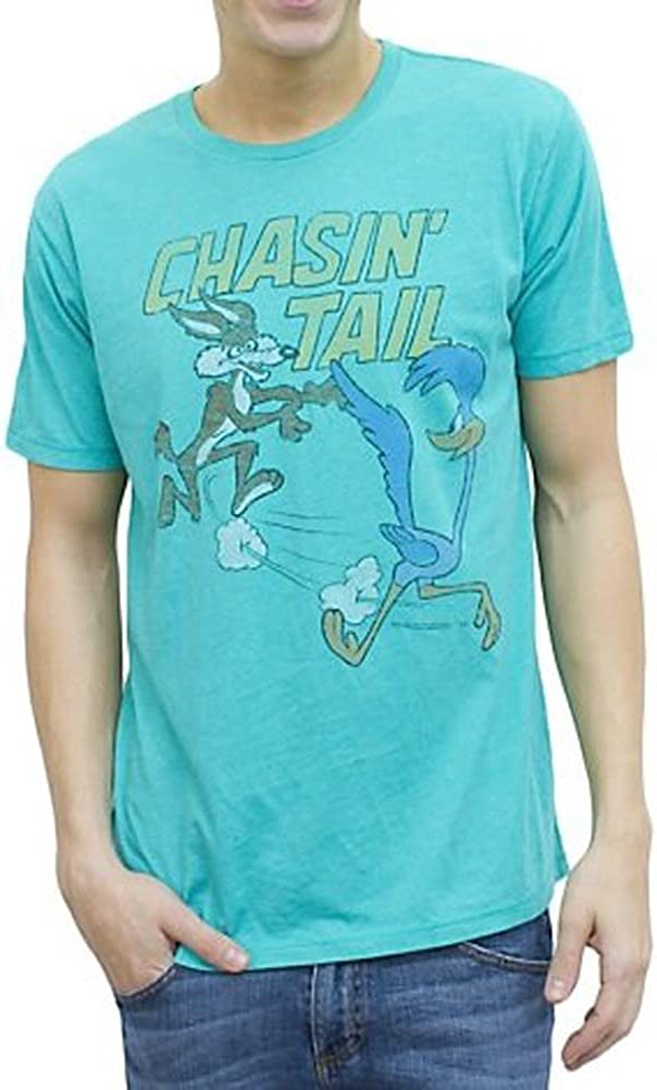 Junk Food Looney Tunes Chasin' Tail Adult Turquoise Blue T-Shirt