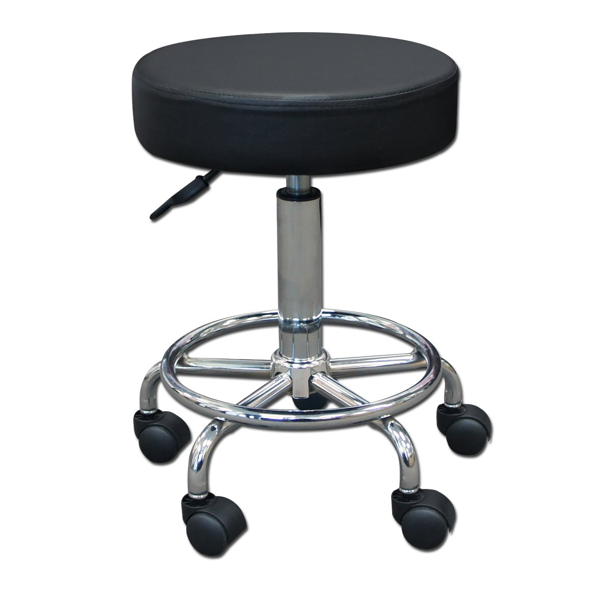 "14"" Round Seat Rolling Hydraulic Steel Pneumatic Stool on Wheels - Black"