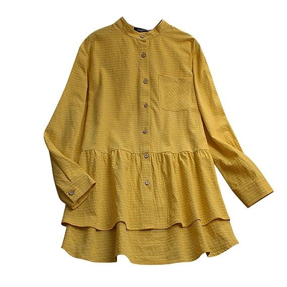 ❤ Camisa Larga de Lino de algodón Mujer, Camisa de Manga Larga Blusa Suelta a Rayas Blusa Suelta Tops Absolute: Amazon.es: Ropa y accesorios
