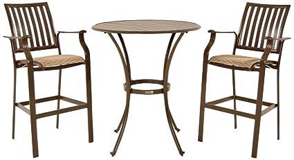 Panama Jack Outdoor Island Breeze 3 Piece Slatted Pub Table Set, Includes 2  Stationary