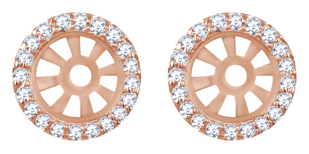 Round Cut White Natural Diamond Stud Earring 10.5 mm Jackets in 14k Solid Rose Gold (0.35 Cttw) by AFFY