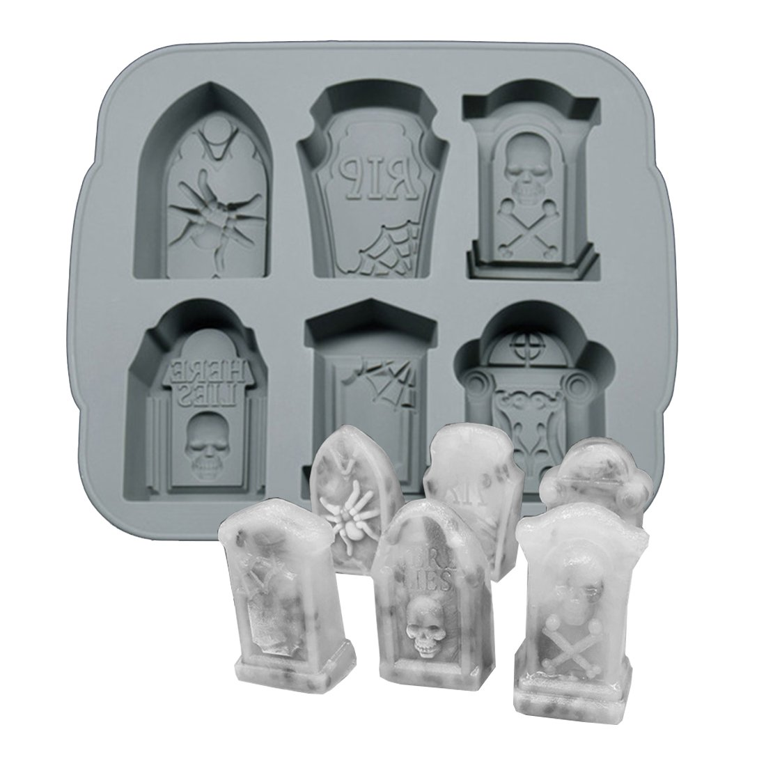 Silicone Ice Cube Trays Halloween RIP Gravestone Mold for Ice, Candy, Cake, Soap