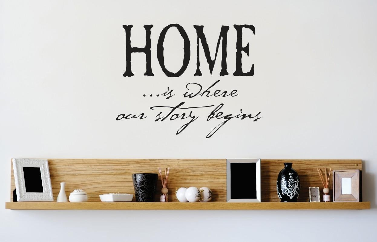 Design with Vinyl 1 Zzz 515 Home is Where Our Story Begins Quote Wall Decal Sticker, 12 x 12-Inch, Black