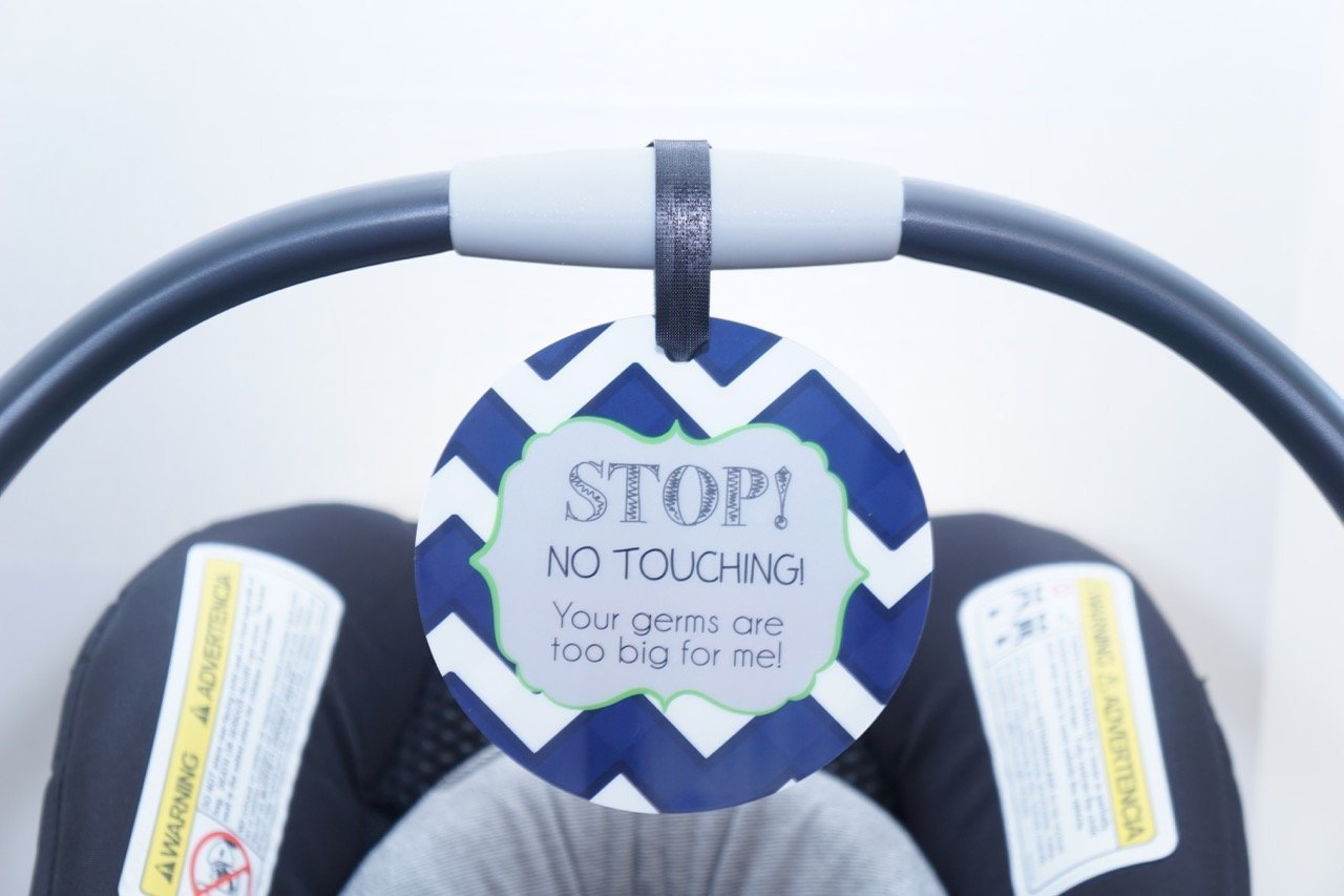 Boy Preemie sign, newborn, baby car seat tag, baby shower gift, stroller tag, baby Preemie no touching car seat sign