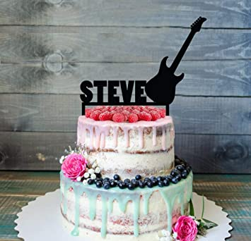 Funny Cake Topper Electric Guitar Rock Star Birthday Silhouette