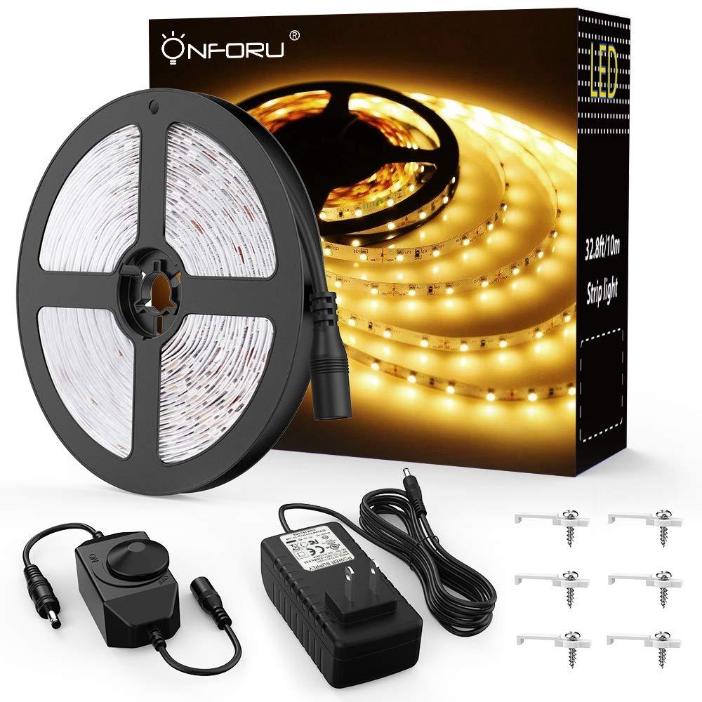 Onforu 33ft Dimmable LED Strip Lights Kit, 600 Units SMD 2835 LEDs, 12V Under Cabinet Lighting Strips, 10M LED Ribbon, Non-Waterproof Tape, 3000K Warm White