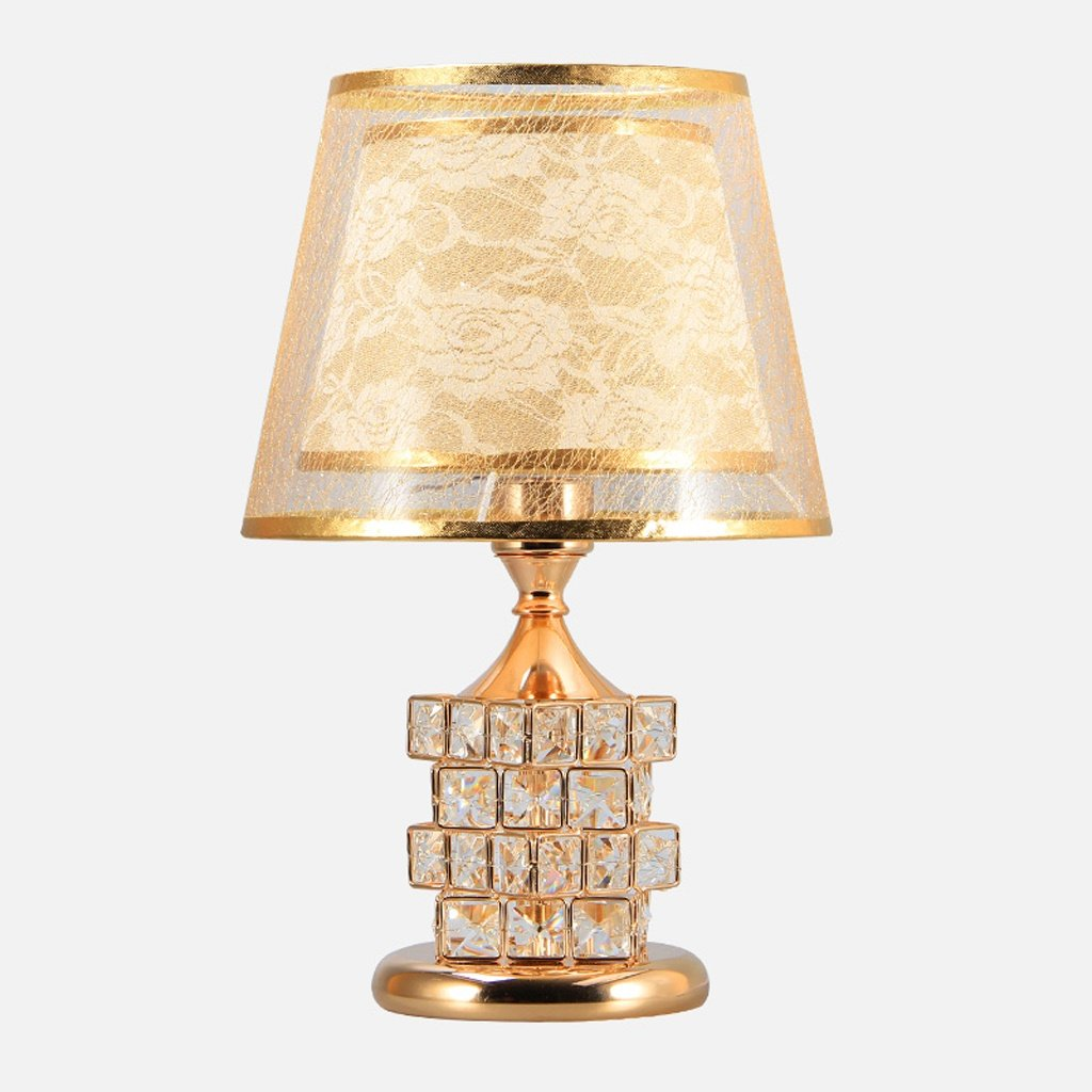 Table Lamp Coffee Table Lamp- 41cm Modern Bedroom Bedside Lamp Crystal European Luxury Wedding Table Lamp Creative Cube Warm Bedroom (Color : Gold) by Hyun times table lamp (Image #2)