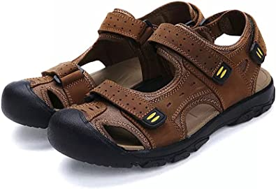 Men/'s Hiking Genuine Leather Sandals Closed Toe Fisherman Beach Shoes Big Size