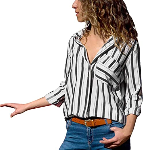 8c162cf6cb Rambling Casual Women Cuffed Long Sleeve, Ladies V Neck Button up Color  Block Stripes Blouse