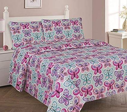 DiamondHome Girls Bedroom Decor Blue Butterfly Design (Twin Sheet 3pc Set)