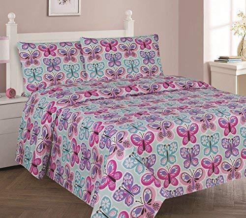 (DiamondHome Girls Bedroom Decor Blue Butterfly Design (Twin Sheet 3pc)