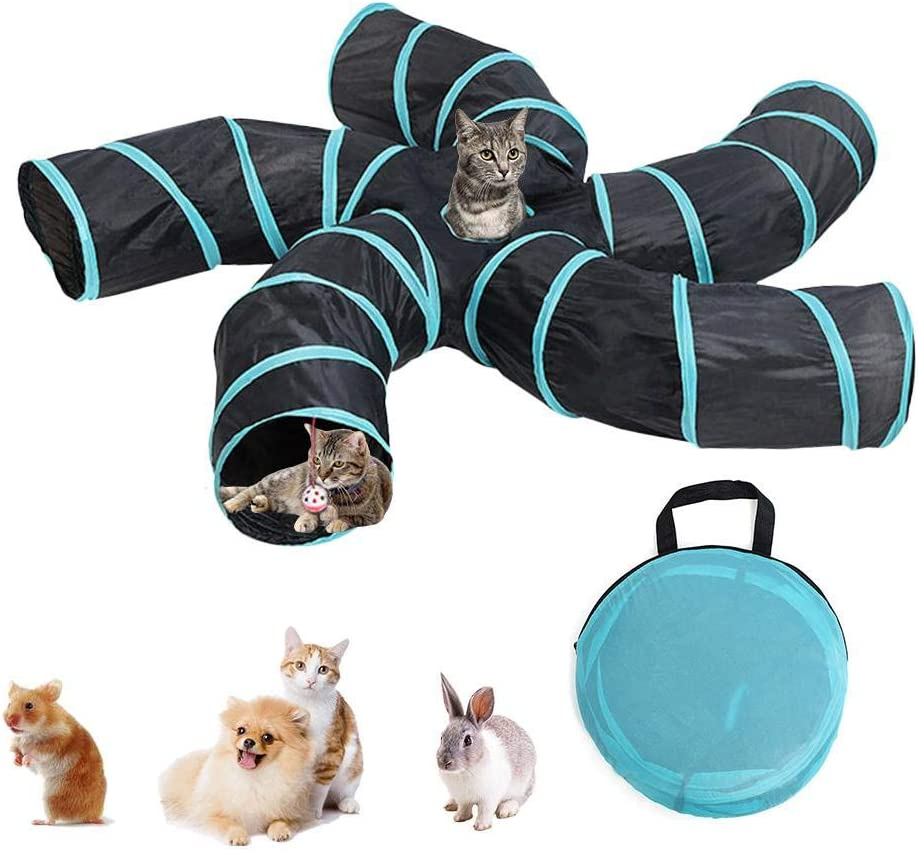 Kitten Kitty Cat Tunnel Collapsible ,Tube Cat Tunnels and Tubes for Indoors ,Kitty Tunnel Toy,Cat Tent Drill Hole Pet Toys Ball Cat Toy for Cat Puppy Rabbit