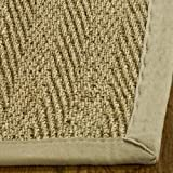 Safavieh Natural Fiber Collection NF115A Herringbone Natural and Beige Seagrass Square Area Rug (8' Square)
