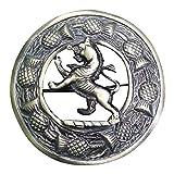 AAR Men,s Scottish Rampant Lion Kilt Brooch Fly Plaid Antique Finish 3'' (7cm) diameter