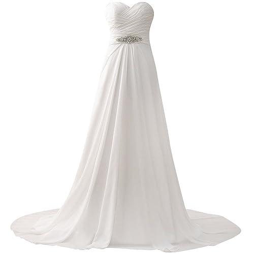 JAEDEN Donne Senza spalline Chiffon Abiti da sposa Lungo linea ad a Vestito da cerimonia