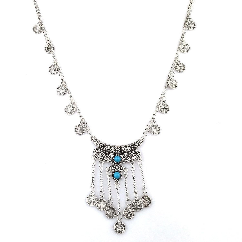 Fuleewoo 1PC Pop Turkish Boho Coin Bohemian Tribal Ethnic Necklace Clavicle Tassel Jewelry