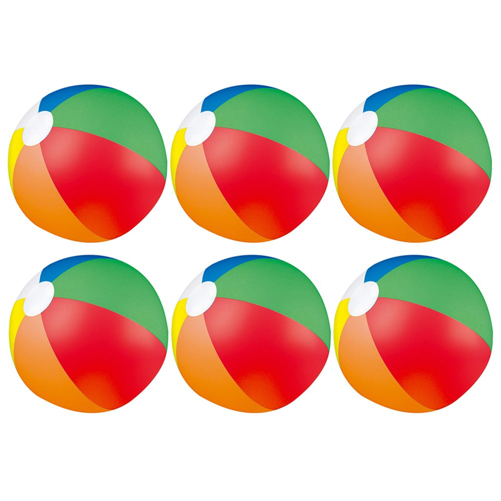 eBuyGB Pack of 6 Inflatable Colour Beach Ball 22 cm / 9'' - Beach Pool Game (Multi Colour)