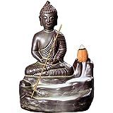 Lembeauty Backflow Incense Burner Buddha Design Ceramic Backflow Incense Holder for Home Office Decoration