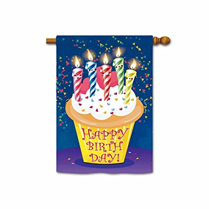 Kafepross Happy Birthday Cake With Ribbons House Flags 28quotx40quot Print Both Sides