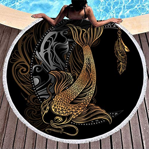 Gdamour Gold Koi Fish Moon Beach Towel Large Round Microfiber Beach Blanket with Tassels Beach Throw Picnic Blanket Table Cloth Tapestry Black 59 Inch
