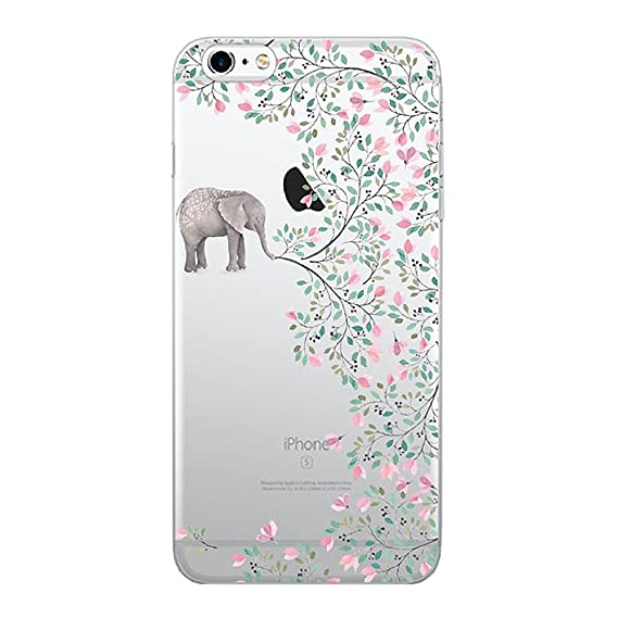 new product 31382 fbbba iPhone 6 Plus / 6S Plus Transparent Gel Case Flower Ultra Slim Thin Bumper  Anti-scratch Soft Cover TPU Shell (elephant flowers)