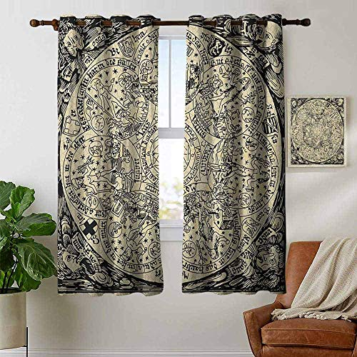 Blackout Curtains Astrology,Series of Ancient Mystic Esoteric Old Map with Man Figures with Vintage Symbols, Ecru Black,Thermal Insulated Panels Home Décor Window Draperies for Bedroom ()