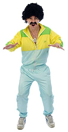 1980/'S SHELL SUIT COSTUME CHAV FANCY DRESS ADULT SHINY TRACKSUIT MEN/'S WOMEN/'S