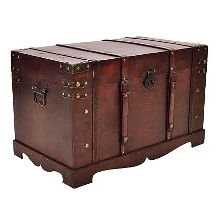 Exceptionnel VidaXL Large Wooden Treasure Storage Thunk Blanket Chest Vintage Antique  Style