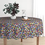 Roostery Round Tablecloth - Dice RPG DND D20 Nerd Geek Gaming by Pi-Ratical - Cotton Sateen Tablecloth 70in