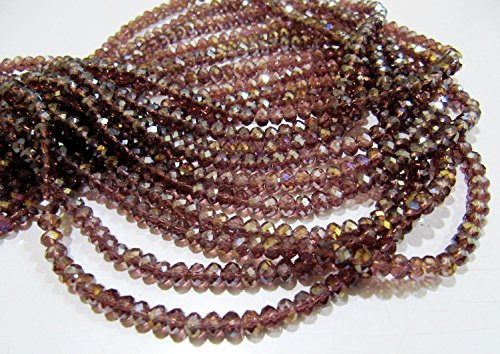 AAA Quality Mystic AB Coated Rhodolite Garnet Color Hydro Quartz Beads / 4 mm Rondelle Faceted Beads / 150 Beads approx per Strings