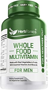 Whole Food Multivitamin for Men with 62 Superfoods Raw Veggies - Daily Natural Vitamins and Minerals Vegan & Vegetarian 120 Capsules Non-GMO
