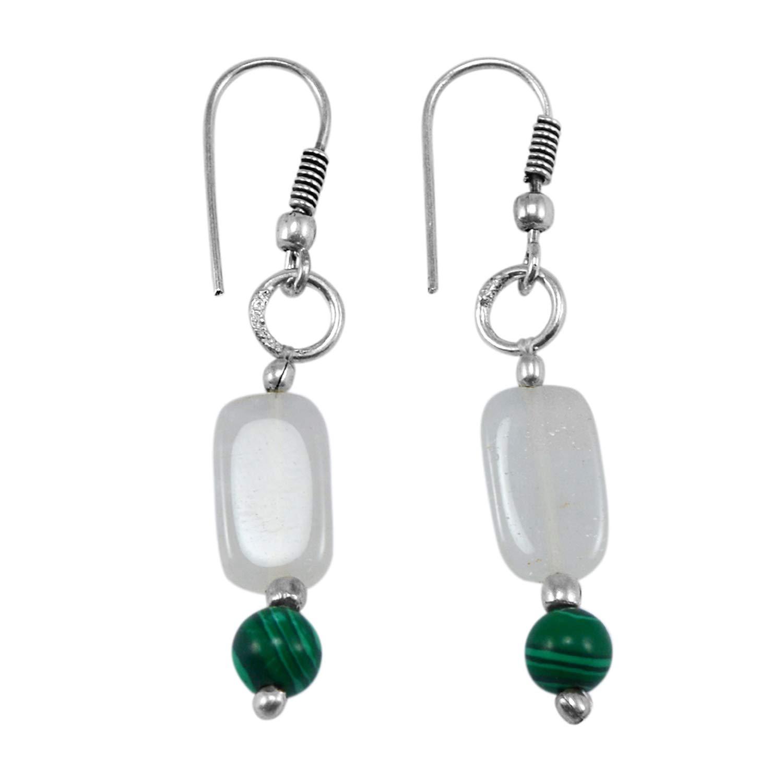 Silvestoo Jaipur Jewelry Girls 925 Silver Plated Malachite /& White Quartz Earring Size 4.7 Centimeter PG-132553