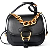 LACATTURA Women Leather Handbag Chain Shoulder Bag Mini Clutch Crossbody Saddle Bags