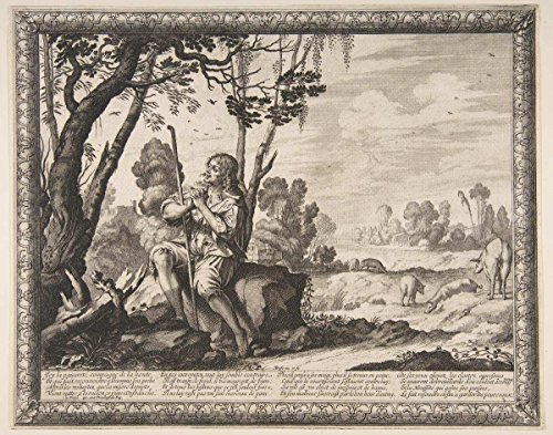 Historic Pictoric Fine Art Print   Abraham Bosse   The Prodigal Son Guarding Pigs   Vintage Wall Art   14in x 11in