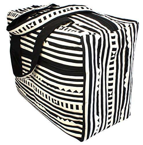 Price comparison product image Bijoux De Ja Handmade Quilted Cotton Over Night Duffel Bag (Black & White)