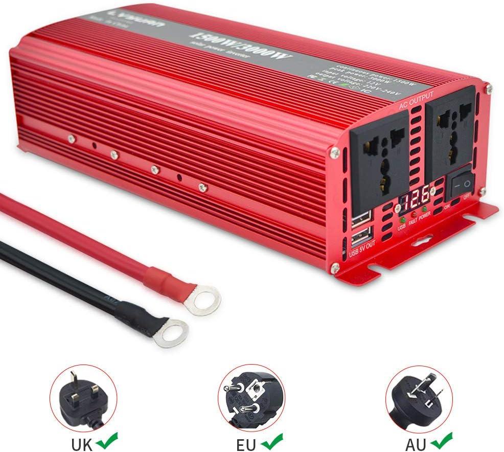 Yinleader Inversor De Corriente 1500W Pico 3000W Transformador De 12v A 230v, Inversor con 2 Toma Enchufe + 2 USB Y Pantalla LED, para Coche, Caravana, Barco, cámping, de Viaje