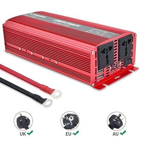 Yinleader Inversor De Corriente 1500W Pico 3000W Transformador De ...