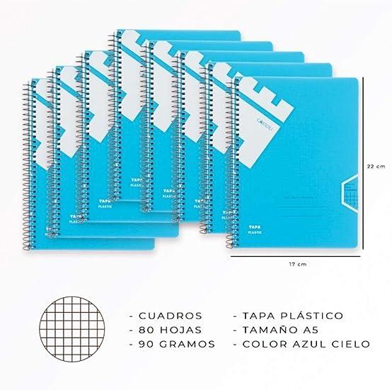 Casterli - Libreta Pack 8 libretas Con Espiral, Tapa Plástico, Tamaño A5, 90gr (Interior Cuadros) (Azul Cielo): Amazon.es: Oficina y papelería