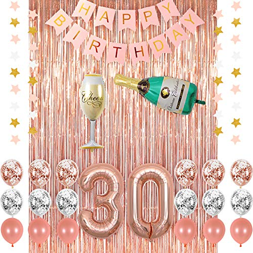 Rose Gold 30 Birthday Party Decorations Supplies, Champagne Balloon, Pink Happy Birthday Banner, 30 Balloons,Rose Gold Foil Fringe Curtains,Confetti Balloons for 30th Birthday Decorations for Her