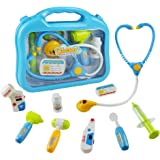 Jerryvon Doctor Kit Pretend Play Medical Set Case Doctor Nurse Game Playset Gift for Kids Boys Girls Over 3 Years Old, Blue