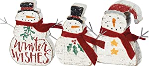 Primitives by Kathy Hand Lettered Christmas Winter Wishes Chunky Sitter Snowmen (Set of 3)