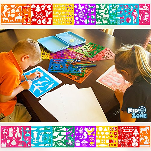 amazoncom stencil drawing kit w carry case over 300 shapes large drawing stencils for kids art include plastic alphabet stencils geometric shapes