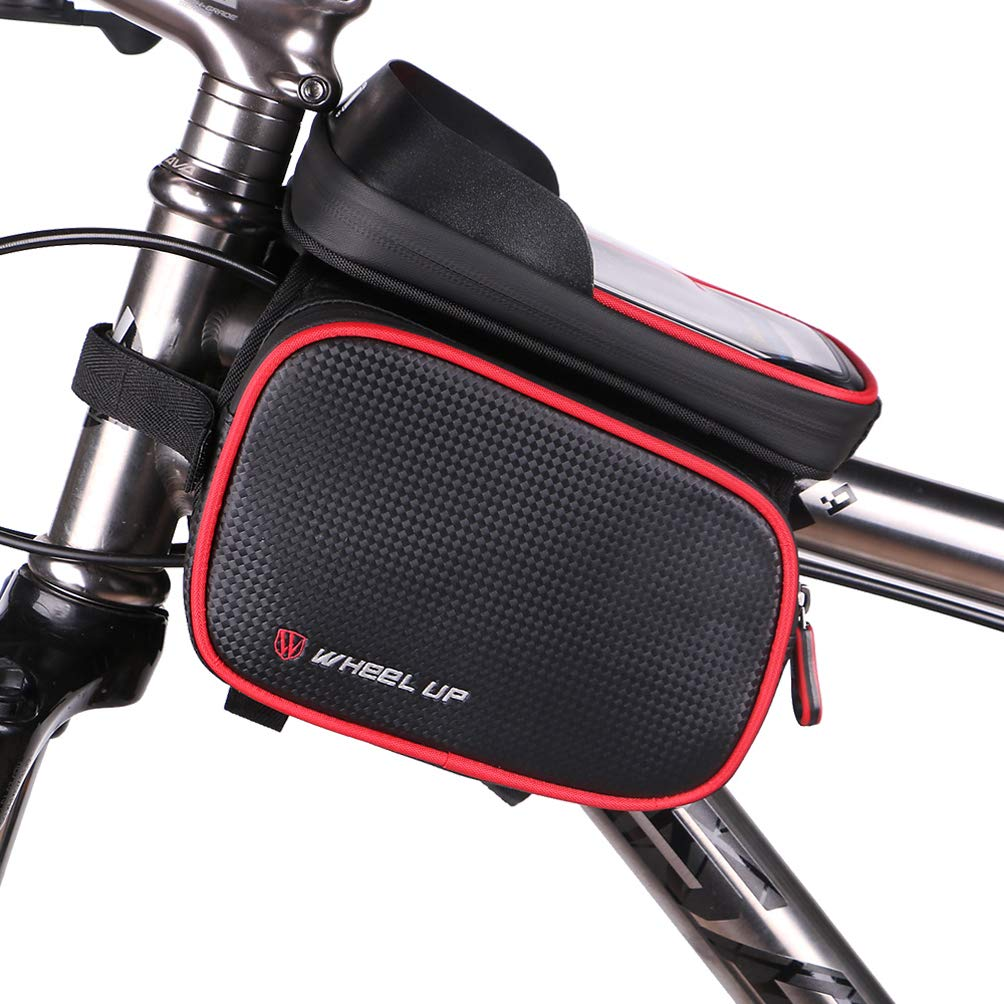 Bike Frame Bag Bicycle Phone Mount with touch screen Waterproof Cycling Front Top Tube Pouch Frame Phone Holder Bag Pannier for iPhone XS MAX XR X 8 7 6S 6 Plus Samsung Galaxy S9 S8 Smartphone